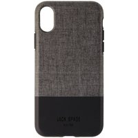 d5c3646e37 Product Image Jack Spade Color-Block Series Hybrid Case for iPhone X - Gray  Fabric Black