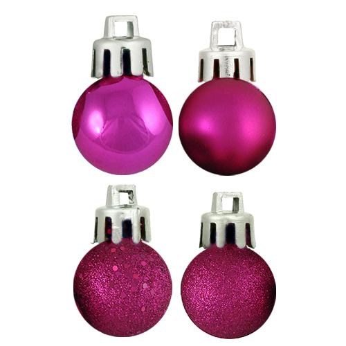 "18ct Pink Magenta 4-Finish Shatterproof Christmas Ball Ornaments 1.25"" (30mm)"