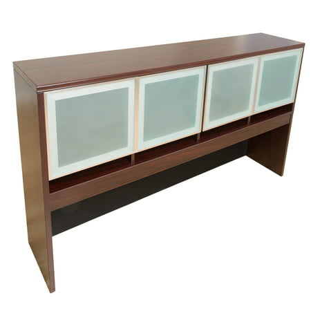 - Boss Office Products Mahogany 71 inch Hutch with Aluminum and Glass Doors