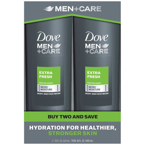 Dove Men Care Body And Face Wash Extra Fresh 18 Oz 2 Count Walmart Com Walmart Com