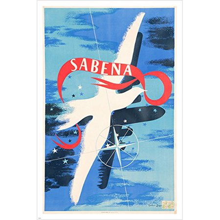 Sabena Airline Vintage Ad Poster Dove Unique Design 24X36