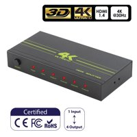 HDMI Splitter 1 in 4 Out Insten Aluminum 4k HDMI Splitter 1 x 4 Supports 3D 4K@30HZ Ultra Full HD for PS4 PS3 Xbox Blu-Ray Player Laptop Smart TV HDTV Monitor Projector (1 Source onto 4 Same Display)