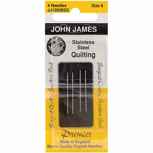 Colonial Needle Stainless Steel Quilting Needles, Size 8, 4/pkg