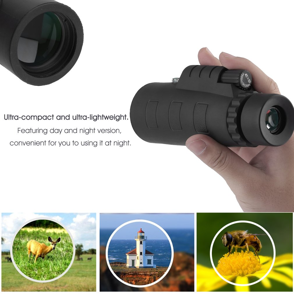 Day Night Vision 40X60 HD Green Film Optical Monocular Telescope With Clip by