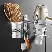 Hair Dryer Rack Storage Organizer Curling Wand or Straightener Comb Holder Bathroom Wall Mounted Stand Set with 2 Hooks + 1 Storage Cup