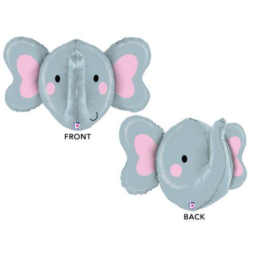 "Elephant Head Shape Toy Foil Balloon, Grey, 34"""