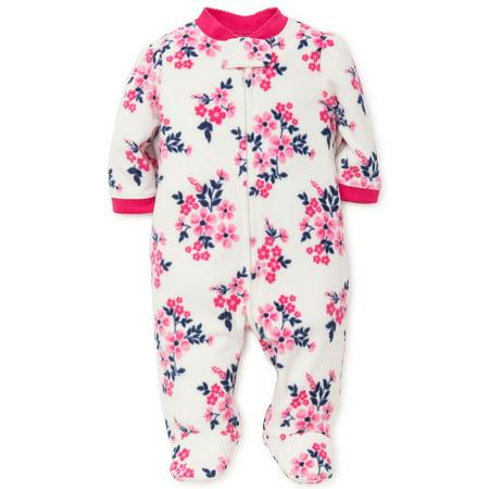 Infant Girls Flower Blanket Sleeper Fleece Kids Footie Pajamas White 9 Mth Baby Fleece Footed Pajamas For - Blanket Sleepers For Toddlers