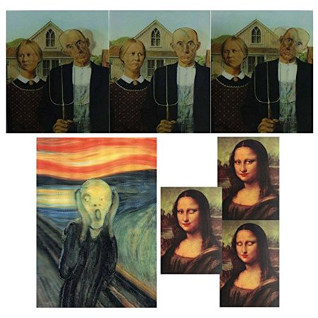 FUN ART - 3D Lenticular Postcard Greeting Cards - 3 different images - American Gothic, Mona Lisa, The Scream.