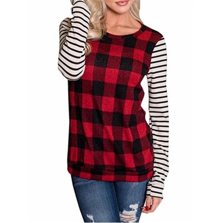 Spring Autumn Long Sleeve Tops Casual Plaid Patchwork Blouse