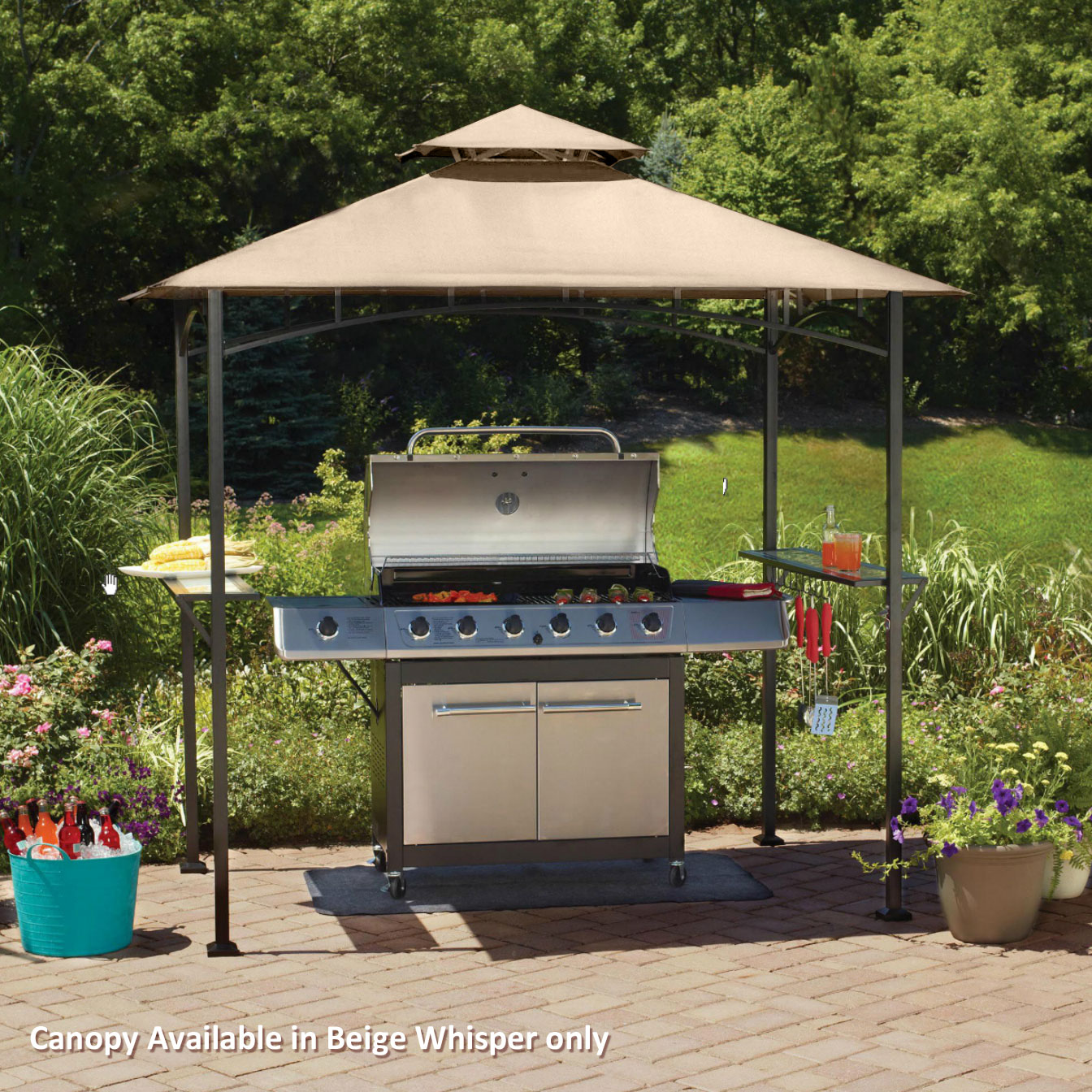 Garden Winds Replacement Canopy Top For Grill Shelter L GZ238PST 11,  MS1208404301