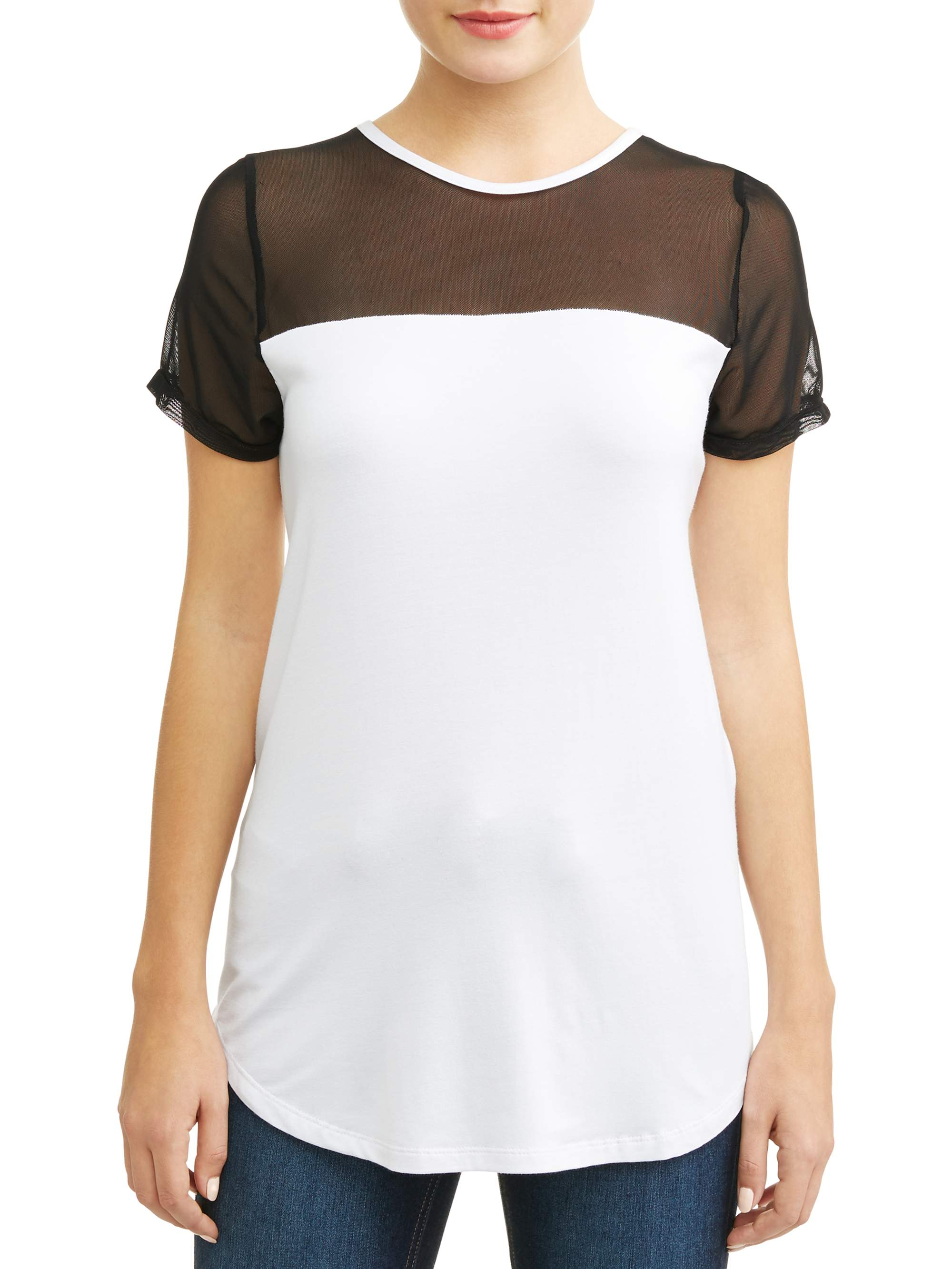 Attitude Unknown Women's Mesh Top Contrast T-Shirt