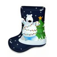 """Christmas Tree Polar Bear Stocking Shape 9.5"""" Serving Platter, Blue White"""