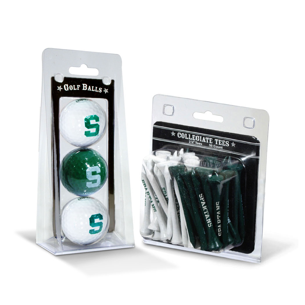 Team Golf NCAA Michigan State Spartans 3 Golf Balls And 50 Golf Tees
