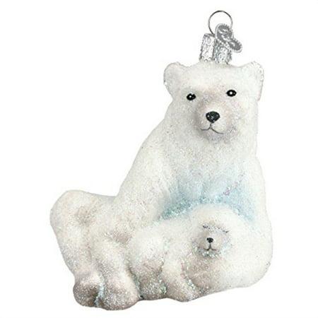 Polar Bear Ornament (Old World Christmas Ornaments: Polar Bear With Cub Glass Blown Ornaments for Christmas)
