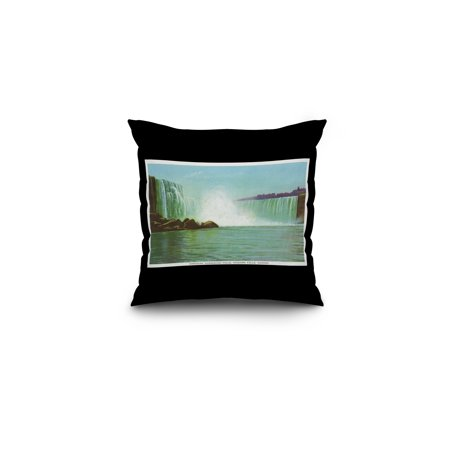 Niagara Falls, Canada - View of Horseshoe Falls (16x16 Spun Polyester Pillow, Black Border)