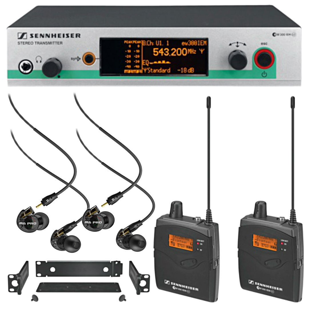 Sennheiser EW300 IEM System 2 Ch + 2 pairs Mee Audio M6Pro Black in-ear Monitors by Sennheiser