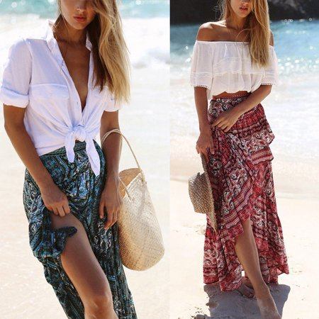 Darling Floral Skirt - Women Ladies Boho Tribal Floral Skirt Maxi Summer Beach Long Casual Skirt Dress