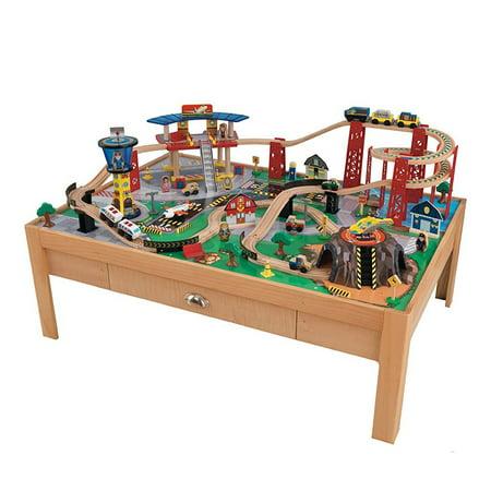kidkraft airport express wooden play kids railway train. Black Bedroom Furniture Sets. Home Design Ideas