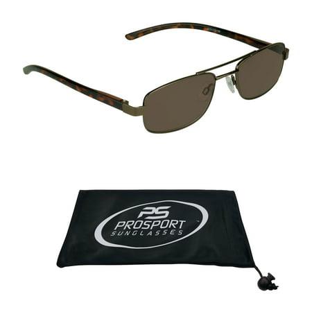 Reading Glasses Brown Tinted Full Lens Sun Readers. High Nickel Metal Aviator (Prescription Glasses With Tinted Lenses)