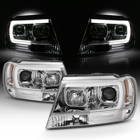 Fits 1999-2004 Jeep Grand Cherokee Chrome Full LED DRL Tube Projector Headlights
