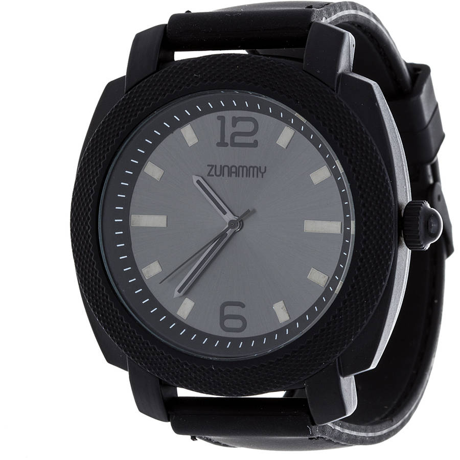 Zunammy Men's Sports Watch, Black Rubber Strap