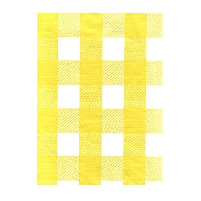 Yellow White Check Vinyl Tablecloth With Umbrella Hole And