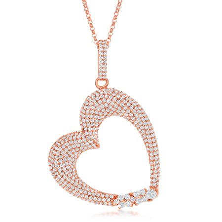 Sterling Silver Rose Gold Large Micro Pave Heart W/CZ Italian Diamond Cut chain 16+2'' Necklace