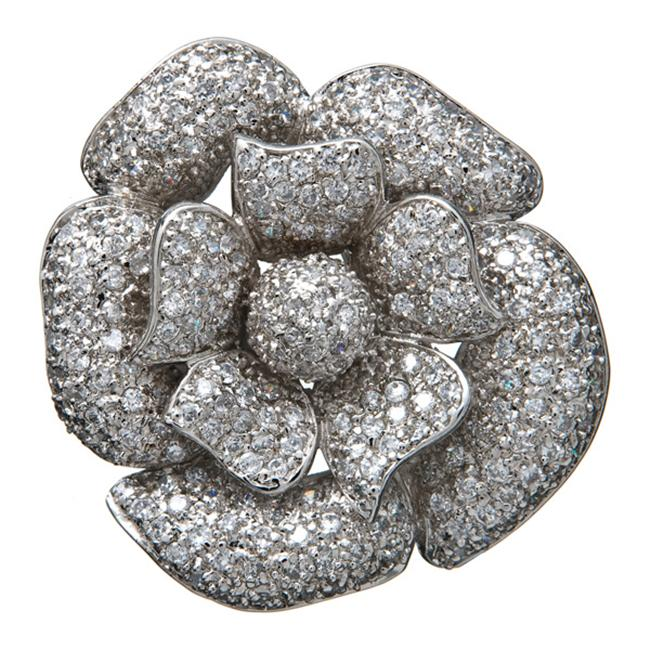CZ Pin108 C. Z.  Large Flower Rhodium - . 925 - Sterling Silver Pin