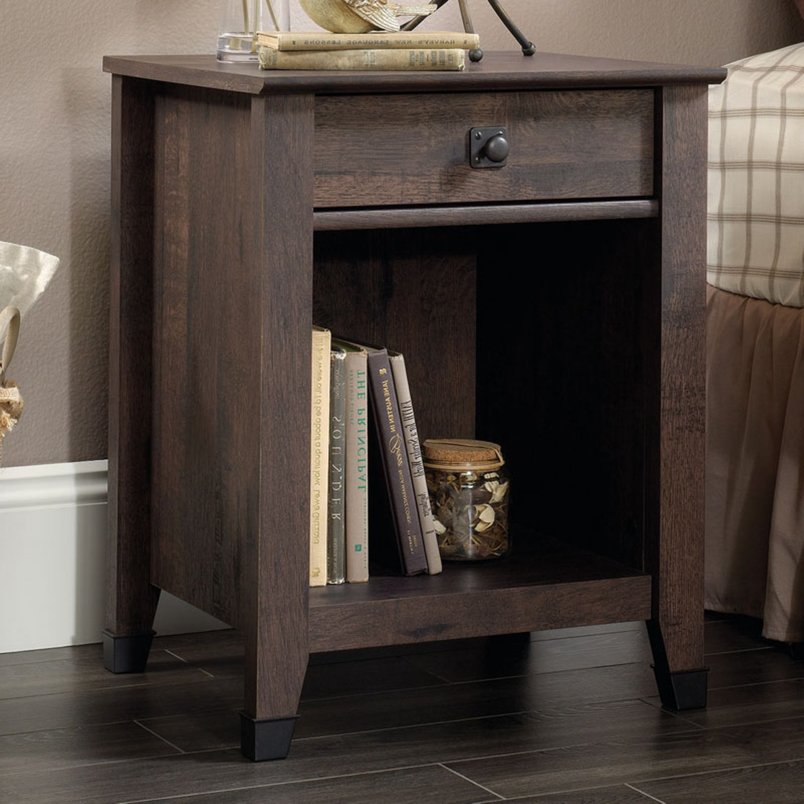 Sauder Carson Forge Night Stand, Coffee Oak Finish