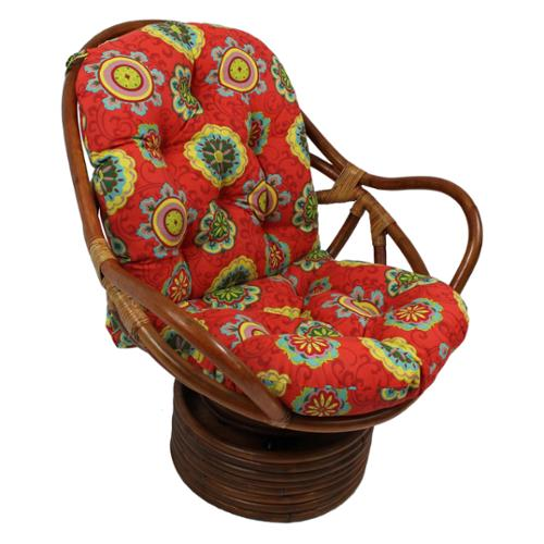 International Caravan Bali Rattan Outdoor Fabric Print Swivel Rocker Chair Alenia Pompeii