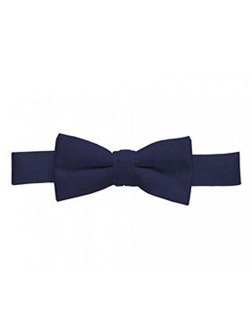 Bow Tie For Mens Boys and Baby Satin look Solid Color Adjustable Pre-tied Made in USA - Kids Navy Blue