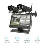"""Defender PhoenixM2 Non Wi-Fi. Plug-in Power. Security Camera System with 7"""" Display Monitor and 2 Long-Range Night Vision Cameras, SD Card Recording, Plug & Play"""