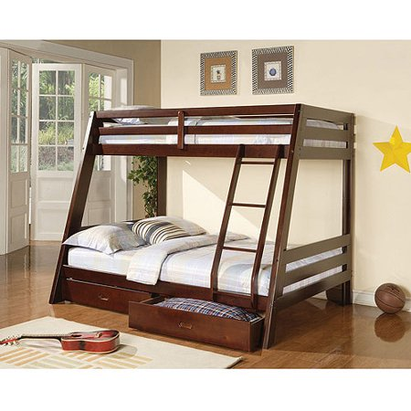 Coaster Bunks Twin Over Full Wood Bunk Bed with Storage, Cappuccino