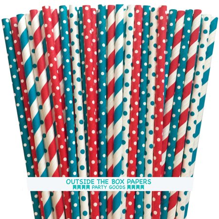 Red, Teal and White Dr. Seuss Theme Paper Straws 125 Pack - White Straws