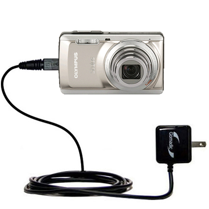 Gomadic Intelligent Compact AC Home Wall Charger suitable for the Olympus Stylus-7040 Digital Camera - High output power with a convenient, foldable p
