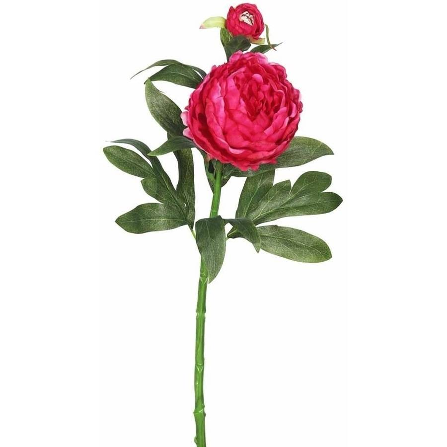 "Vickerman 24"" Artificial Hot Pink Peony Stem Featuring 2 Blossoms (3 Per Pack)"