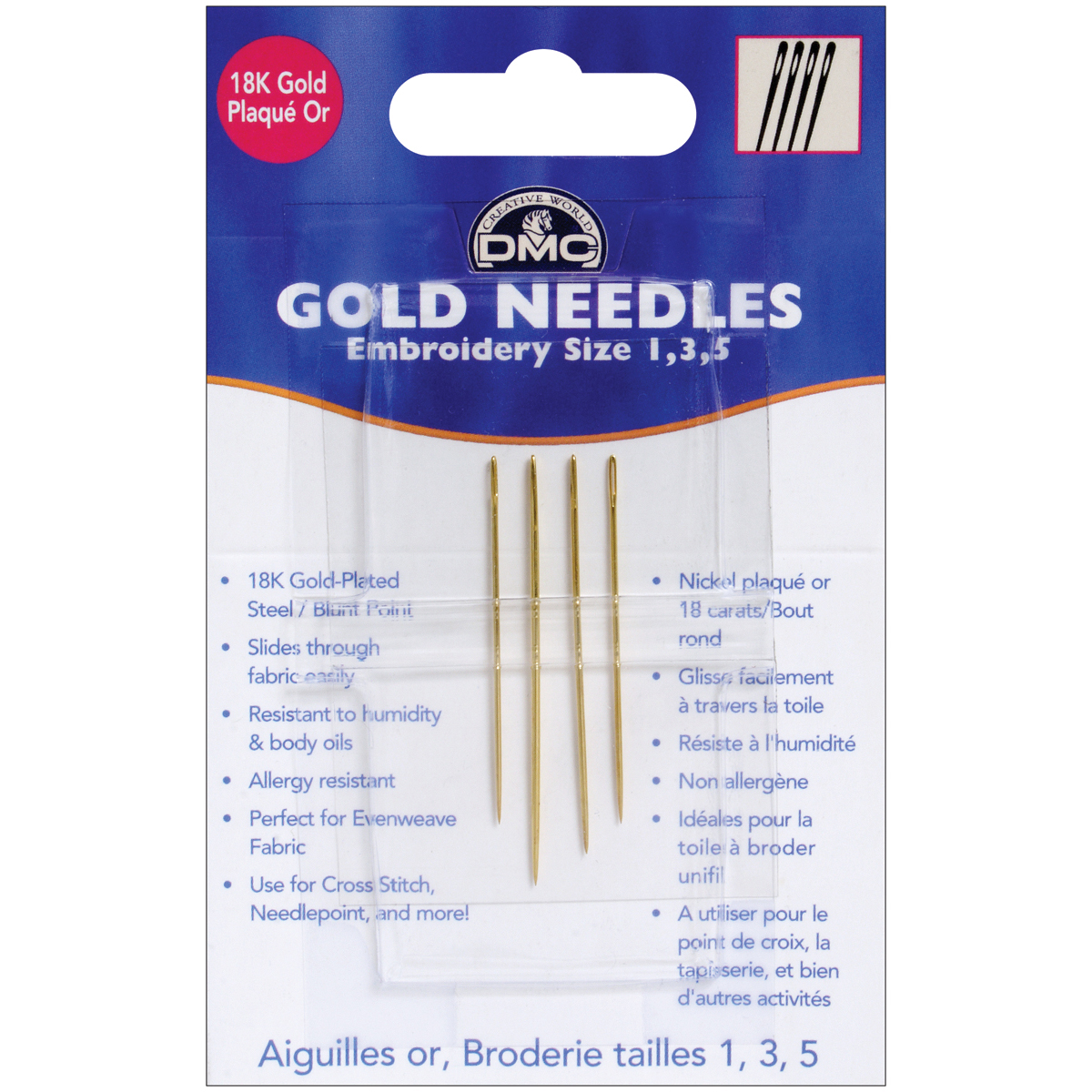 DMC 6132 Embroidery Hand Needles, Gold Multi-Colored