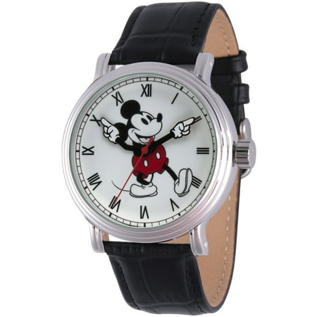 Mickey Mouse Men's Silver Vintage Alloy Watch, Black Leather Strap