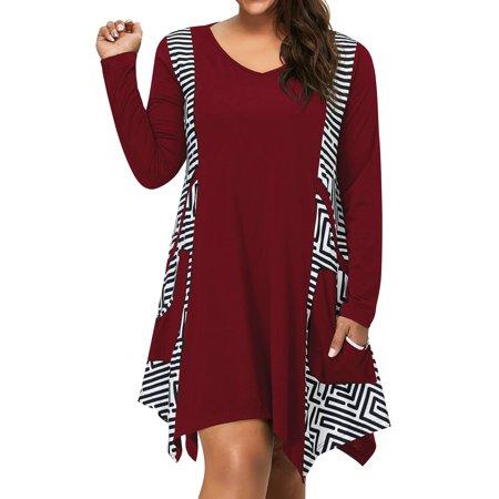 51f2e6cc668a LMart Women Loose V Neck Long Sleeve Striped Print Dress with Pockets -  Walmart.com