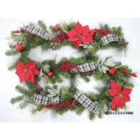 Holiday Time 9' Garland With Red Poinsettia