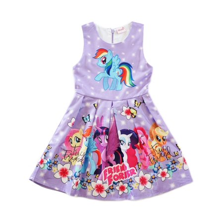 Wenchoice Girls Lavender My Little Pony Friends Forever A-Line (Best Type Of Dress For My Body Shape)