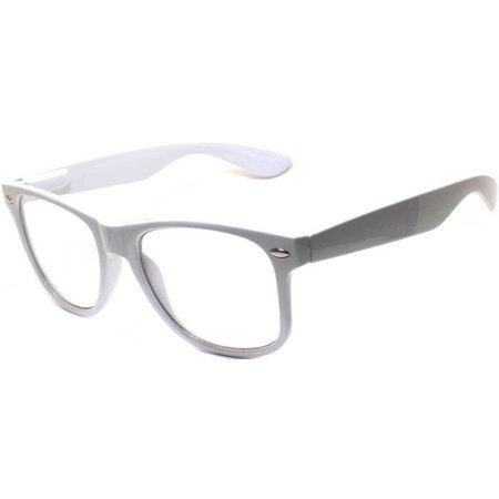 One Pair Retro 80's Vintage Party Sunglasses White Frame Clear Lens - Pair Clear Lens