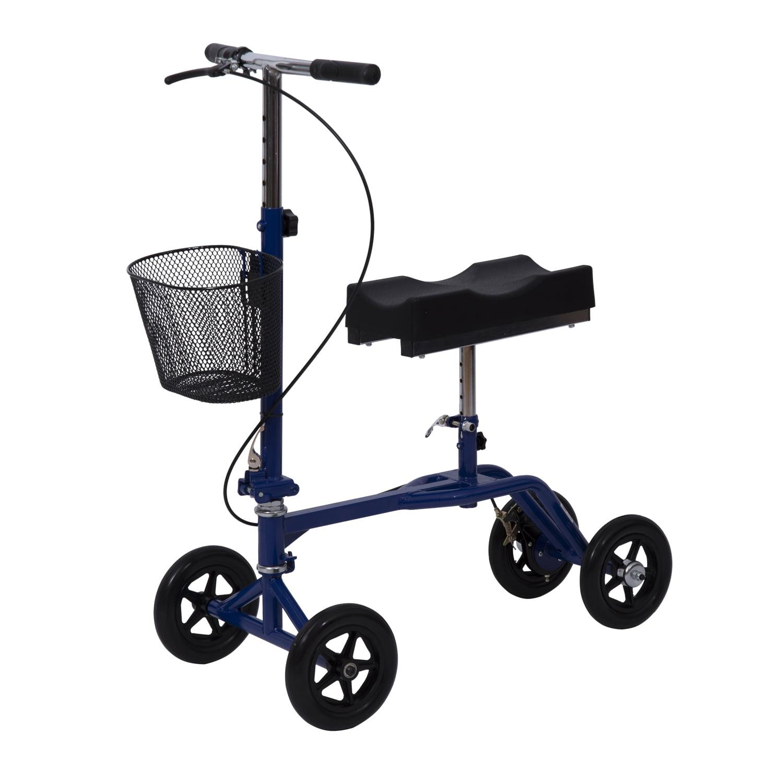 HomCom Steerable Knee Walker Scooter w/ Basket - Blue