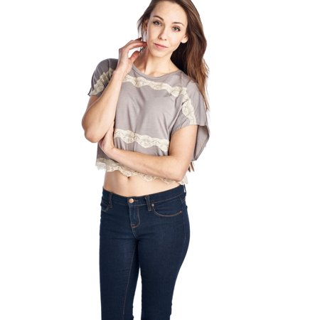 Coolwear Women's Short Wing Keyhole Back Top with Lace Trim - Brown - (Trim Keyhole)