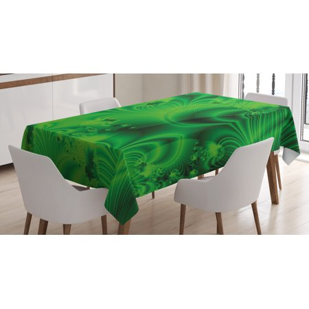 Lime Green Tablecloth, Vibrant Abstract Hazy Psychedelic Wavy Color Background Hippie Digital Artificial, Rectangular Table Cover for Dining Room Kitchen, 52 X 70 Inches, Emerald, by Ambesonne