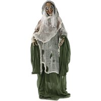 Haunted Hill Farm Life-Size Animated Talking Evil Witch Prop w/ Rotating Head for Indoor or Outdoor Halloween Decoration, Battery-Operated
