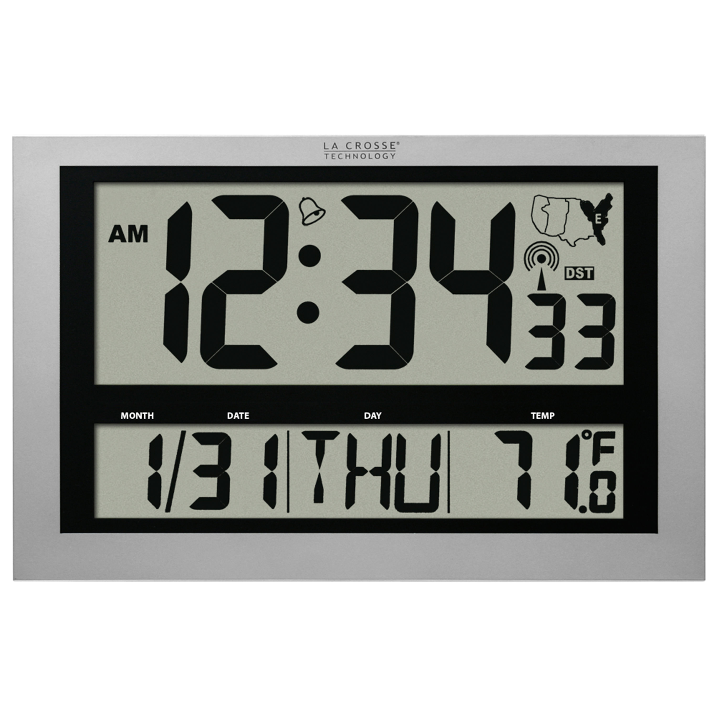 La Crosse Technology 513-1211 Jumbo Atomic Digital Wall Clock with Indoor Temperature