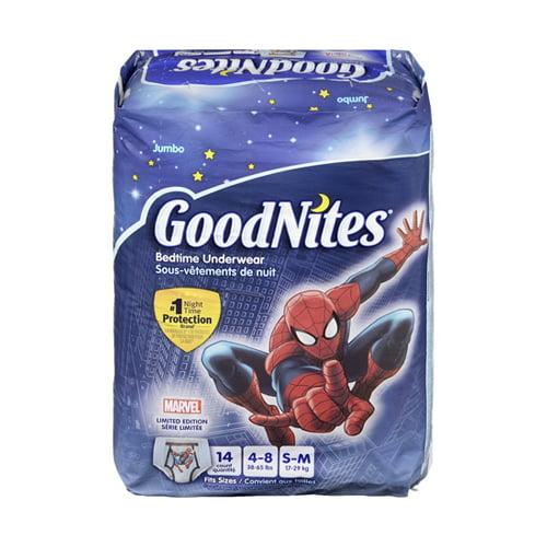 Goodnites Boys Bedtime Underwear Jumbo 38-65 Lbs Spider Man, Small/Medium - 14 Ea, 4 Pack