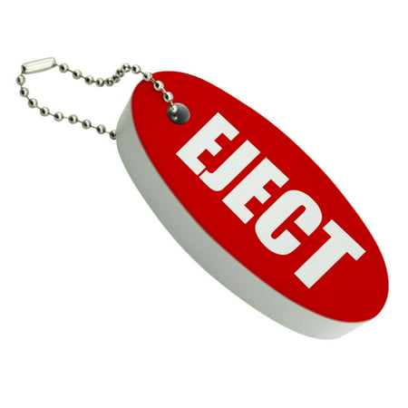 Red Eject Button Design Funny Floating Foam Keychain Fishing Boat Buoy Key - Funny Keychains