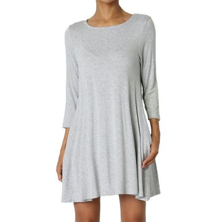 71e7c0ea2b4 TheMogan Women s S~3XL Basic 3 4 Sleeve Swing Flared Tunic Dress Pocket  Long Top